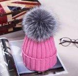 Beanie зимы с шлемами зимы шлема Knit верхней части шарика шерсти смешной