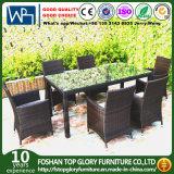 Jardin réglé d'arrière-cour de fauteuils de réglage de Tableau de meubles extérieurs en osier