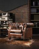 거실 의자 빅토리아 고전적인 단추 술을 다는 최고 진짜 가죽 의자