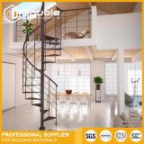 Projeto artístico moderno das escadas da escadaria interna da espiral da construção de aço