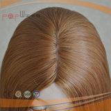 Peluca superior de seda rubia atada mano (PPG-l-01279)