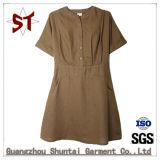 Signora Casual Straight Shirt Dress di estate