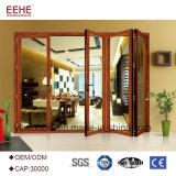 Fournisseur chinois de l'aluminium portes pliantes porte escamotable en verre