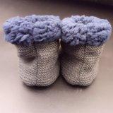 Новые настраиваемые вышивка трикотажные подкладка зимний теплый Baby Booties обувь