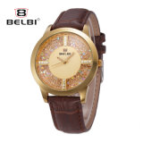 Belbi 다이아몬드 여성 시계 형식 최신유행 형식 방수 로즈 금 가죽 시계