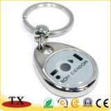 Corrente chave personalizada da moeda do metal da liga do zinco