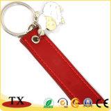 Nette Metalllederner Streifen-Schlüsselkette mit reizenden Metallschafen Accessory