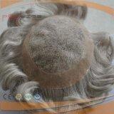 Lleno de color gris Handtied Cabello Humano Mens peluca (PPG-L-01476)