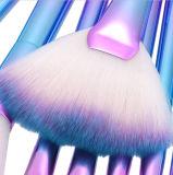 kits brillantes azules del cepillo de la sirena del maquillaje del sombreador de ojos 9PCS