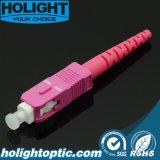Schakelaars van de Kabel van de Vezel van Sc Om4 de Optische met Roze Huisvesting en Laars