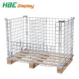 Malla de alambre industriales pesadas de la jaula de palets con palet de madera