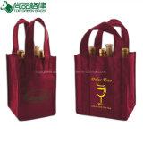 Sacchetto di elemento portante non tessuto su ordinazione del vino della bottiglia della bottiglia 4 del sacchetto quattro del vino