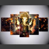 La decoración del hogar del arte de la pared de la pintura de la lona para la sala de estar HD imprime 5 pedazos del elefante del tronco de dios del cartel del cuadro modular de Ganesha
