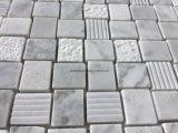 Basketweave白いパターン大理石の石のモザイク