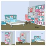 New デザイン木セットの子供の寝室の家具の子供の漫画の調査表およびChair (項目No# 956D)