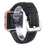 Cinta de relógio italiana do couro genuíno do vintage com frame para a chama de Fitbit
