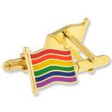 새로운 형식 고품질 다채로운 부는 깃발 Lgbt 금속 커프스 단추
