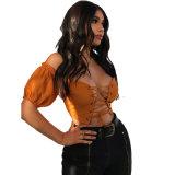 Nouvelle conception de l'été Fashion femmes sexy Aleksa off Haut de la récolte de l'épaule