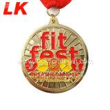 Medalha de desporto de Acabamento de esmalte personalizado com caixa Medalha de veludo