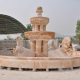 Grand jardin de sculptures de cheval fontaine avec piscine dans la couleur rouge (GSF-100)