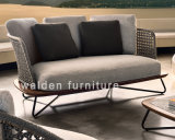 2018 Walden novo mobiliário de alumínio sofá 2 lugares/poliéster Piscina Sofá
