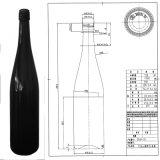ねじ終わり750mlを用いる旧式な緑ガラスのワイン・ボトル