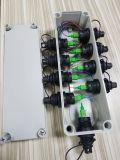 Caixa de distribuição ao ar livre da fibra com o adaptador do divisor do PLC e do conetor de H