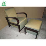 居間のための木のラウンジチェア、オットマンが付いている過渡的なアクセントの椅子