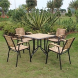 안뜰 고리 버들 세공 가정 호텔 사무실 알루미늄 플라스틱 목제 Starback 테이블 및 의자 (J824)