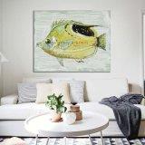 Pittura a olio nordica Handmade dei pesci di stile su tela di canapa per la decorazione della parete