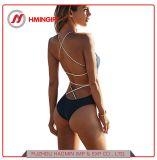 최고 판매 도매 뜨개질을 한 태양열 집열기 고삐 섹시한 높은 허리 한 조각 수영복