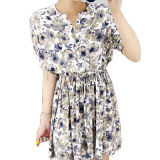 Customedの女性偶然の花模様のプリーツをつけられた服