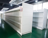 Le double d'équipement industriel a dégrossi étagère classique de supermarché avec le panneau arrière plat