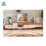 壁単位のヨーロッパ式白いコーナーTVの立場のキャビネットの木の家具
