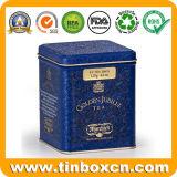 El metal puede carrito de té que empaqueta el rectángulo grabado 3D del estaño del té