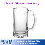 taza de cerveza de cristal transparente 450ml para la sublimación con el casquillo