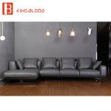 Moderne schwarze Farbe italienische Nappa lederne Schnittsofa-Set-Entwürfe