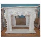 Blanco/Amarillo/Beige envolvente manto de mármol tallada en piedra de la chimenea de diseño