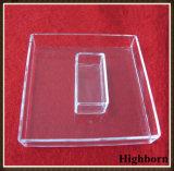 Bandejas cuadradas claras del cuarzo de la silicona de la pureza con la tapa