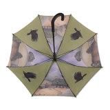 最も普及した女性普及した完全な印刷の棒Jの形の傘