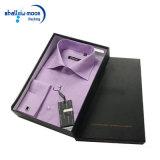Caja de embalaje de empaquetado de papel negra de encargo de la camiseta de los rectángulos con insignia