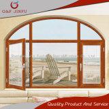 Marco del perfil del color de madera del traspaso térmico/ventana de aluminio del arco