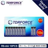preço de grosso da bateria do carbono do zinco da fábrica de 1.5V China (R6-AA 10PCS)
