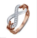 Van twee Toon van de Ring van de AMERIKAANSE CLUB VAN AUTOMOBILISTEN plateerde het Witte /Rose Goud van CZ de Zilveren Echte Juwelen van Manier 925