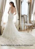 Vestidos de casamento longos Z512 da sereia das luvas do vestido nupcial frisado do laço