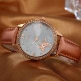 Reloj de señoras mineral de los cuartos de galón de la correa de cuero del ODM del OEM del vidrio (Wy-054A)