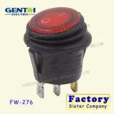 Mini 6A iluminados redondos 250VAC impermeabilizan el interruptor de eje de balancín