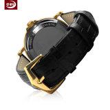 Montre-bracelet d'acier inoxydable de quartz de courroie en cuir de mode pour les hommes