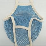 Häkelarbeit-NettoEinkaufstasche, Baumwollineinander greifen-Beutel Pms Farbe mit der Hand stricken