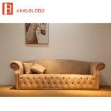 Sala de estar de lujo caqui cuero Nubuck muebles sofás Chesterfield
